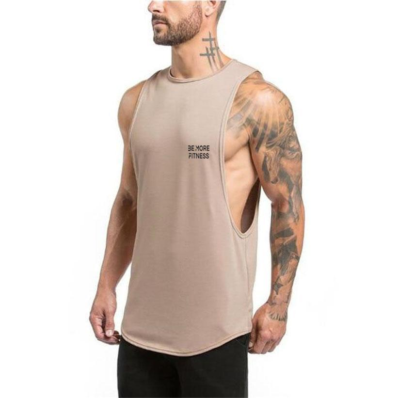 Cut Out Scoop Bottom-Tank Top-Be More Fitness® Ltd-Khaki-M-Be More Fitness® Ltd