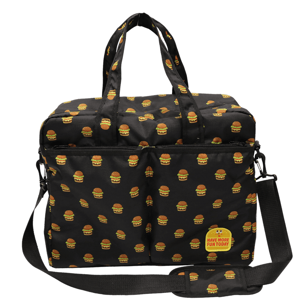 Lightweight WIDE Diaper Bag with Badge - Hamburger