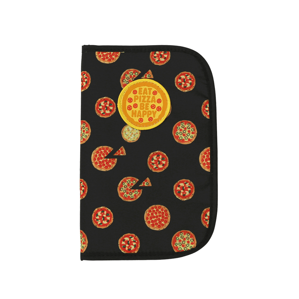 Multi Travel Organizer Card Case with Badge Pizza