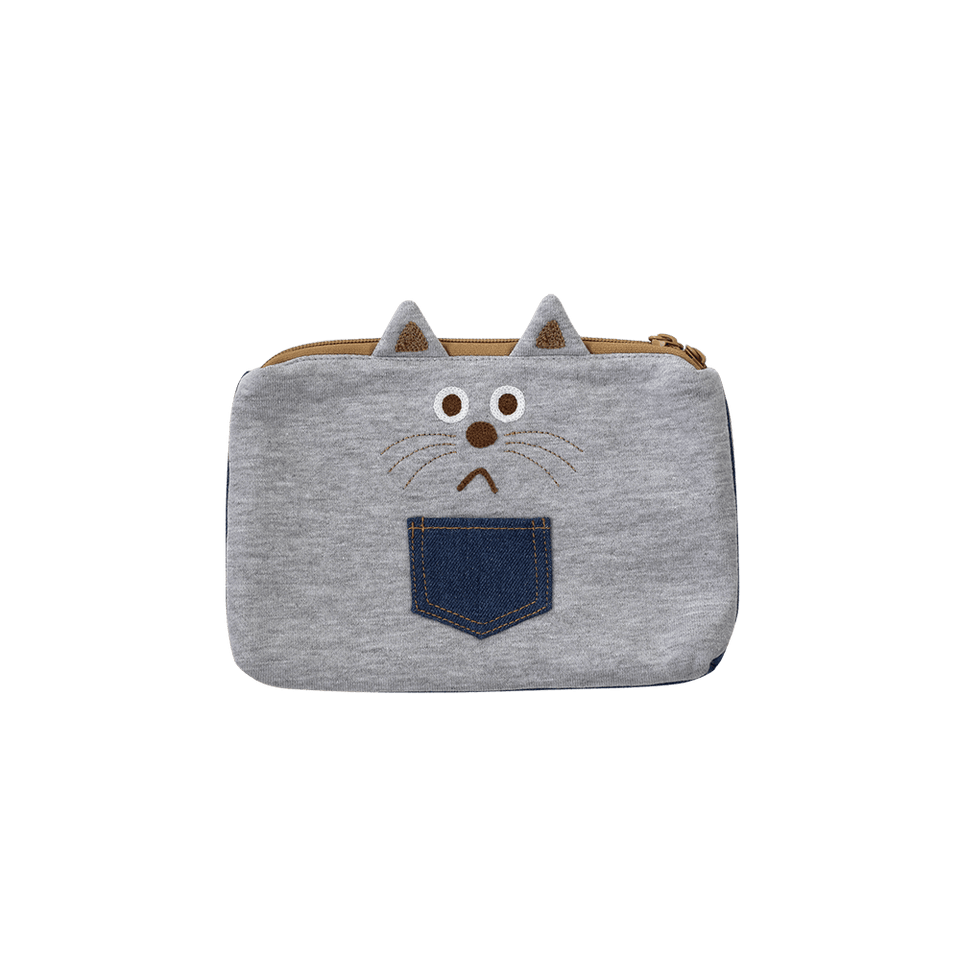 Flat Pouch / Denim & Smooth Cat