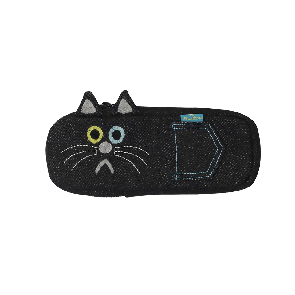 Pencil Case / Black Denim Cat