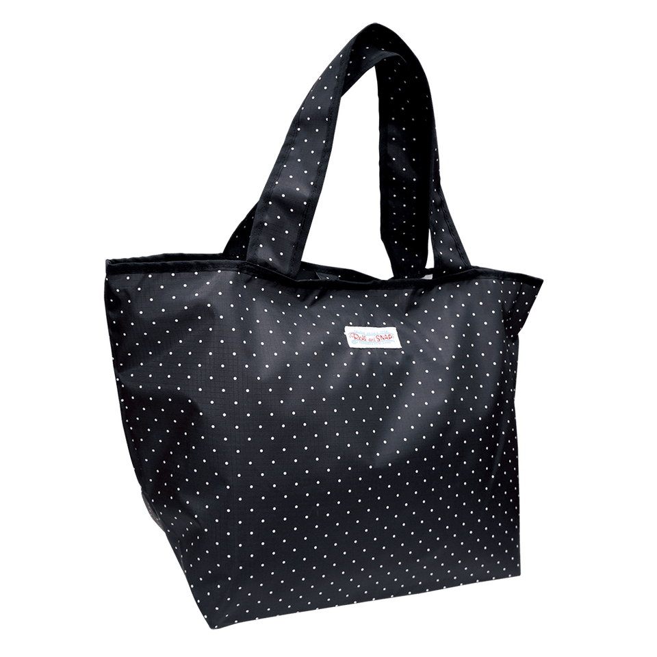Roll & Snap Tote Bag / Polka Dot Black