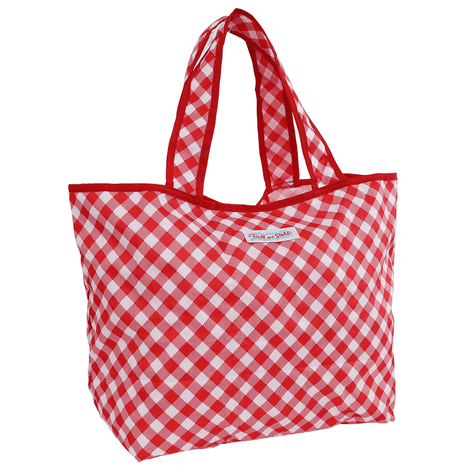 Roll & Snap Tote Bag / Red Gingham Check