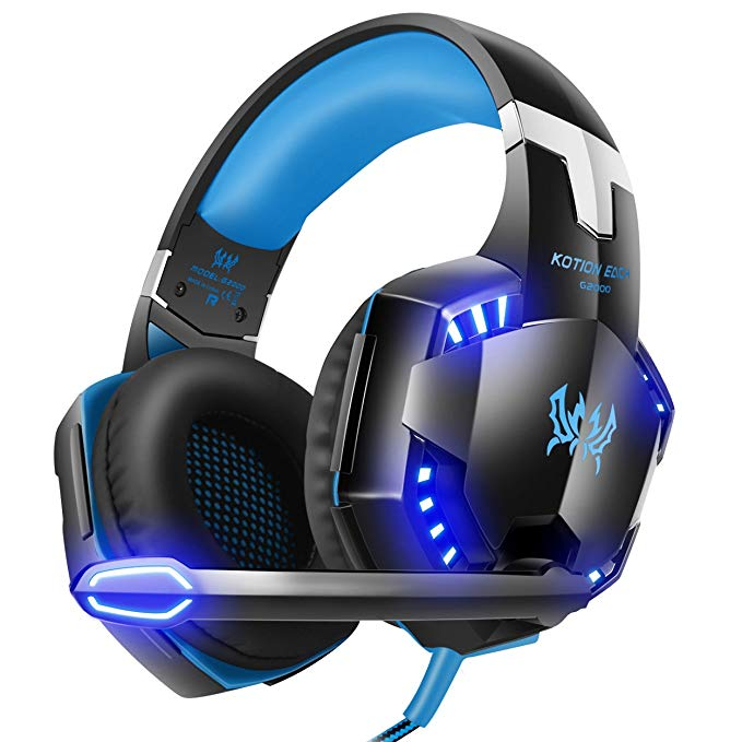 G2000 Gaming Headset, Surround Stereo Gaming Headphones with Noise Cancelling Mic, LED Lights & Soft Memory Earmuffs, Works with Xbox One, PS4, Nintendo Switch, PC Mac Computer Games