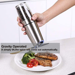 Gravity Electric Salt and Pepper Grinder Set, Automatic Pepper and Salt Mill Grinder Battery-Operated with Adjustable Coarseness Premium Stainless Steel with LED Light