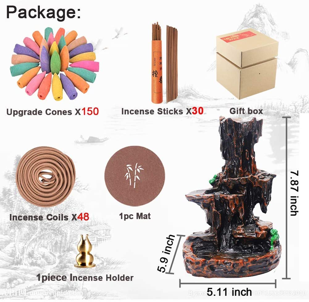 Backflow Incense Holder Waterfall Incense Burner Mountain Tower Censer Aromatherapy Ornament Home Decor