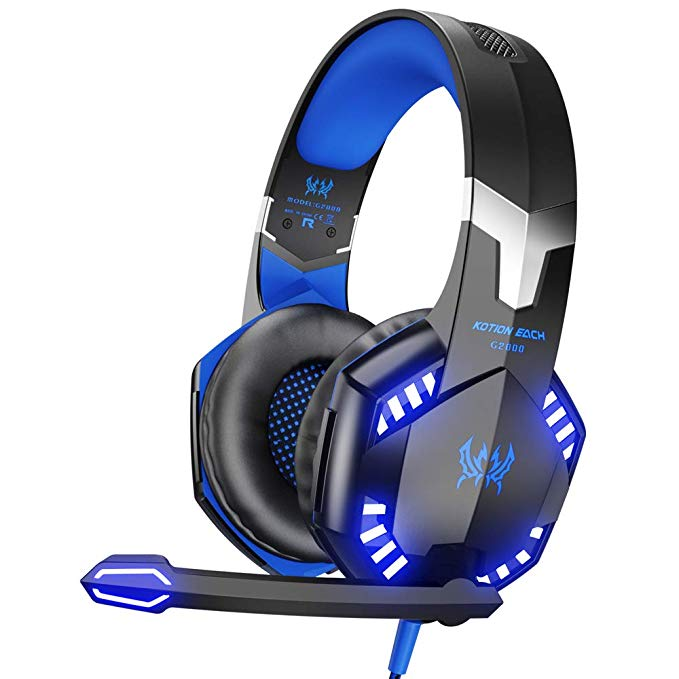 G2000 Stereo Gaming Headset for Xbox One PS4 PC, Surround Sound Over-Ear Headphones with Noise Cancelling Mic, LED Lights, Volume Control for Laptop, Mac, PS3, Nintendo Switch Games