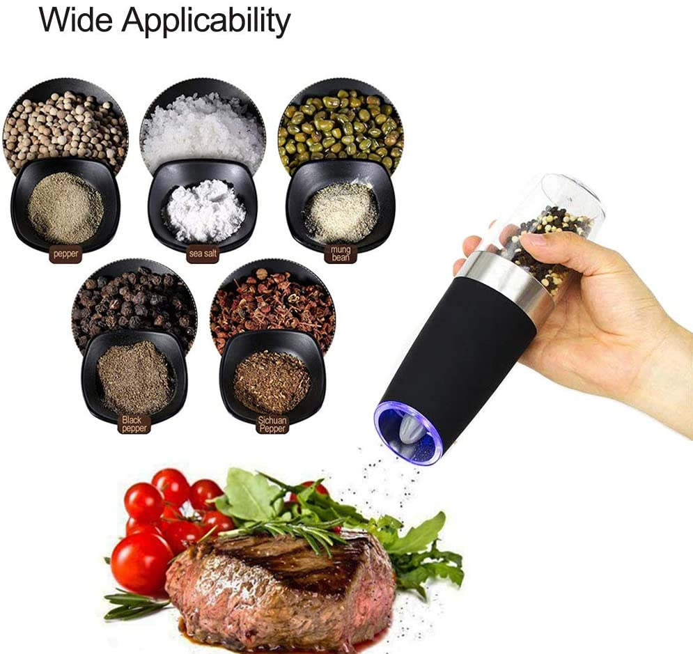 Gravity Electric Pepper Grinder, Salt or Pepper Mill & Adjustable Coarseness, Battery Powered with LED Light,  Stainless Steel