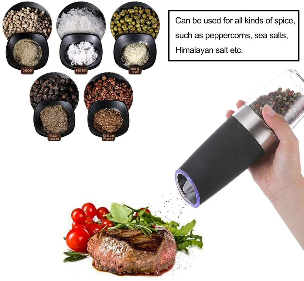 Gravity Electric Salt and Pepper Grinder Set  Automatic Pepper and Salt Mill Grinder Battery-Operated with Adjustable Coarseness, LED Light, One Hand Operated