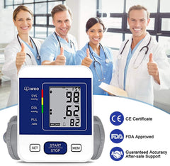 Upper Arm Digital Blood Pressure Monitor Approved by FDA with 2 Users 198 Memory,Automatic Heart Rate Pulse Monitor with Large Screen Display Home Use Care Device