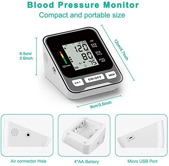 Blood Pressure Monitor for Upper Arm Fully Accurate Automatic Digital BP Machine for Home Use Fast Reading Health Monitor with LCD Display and Voice Function