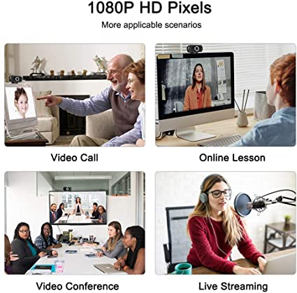 1080P HD Webcam with Microphone USB Web Camera for Desktop Laptop Computer PC