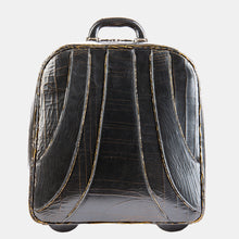 Luxury leather sustainable silk rolling bag luggage carry-on carryall