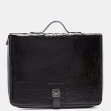 Luxury leather sustainable silk laptop case briefcase carry-on carryall