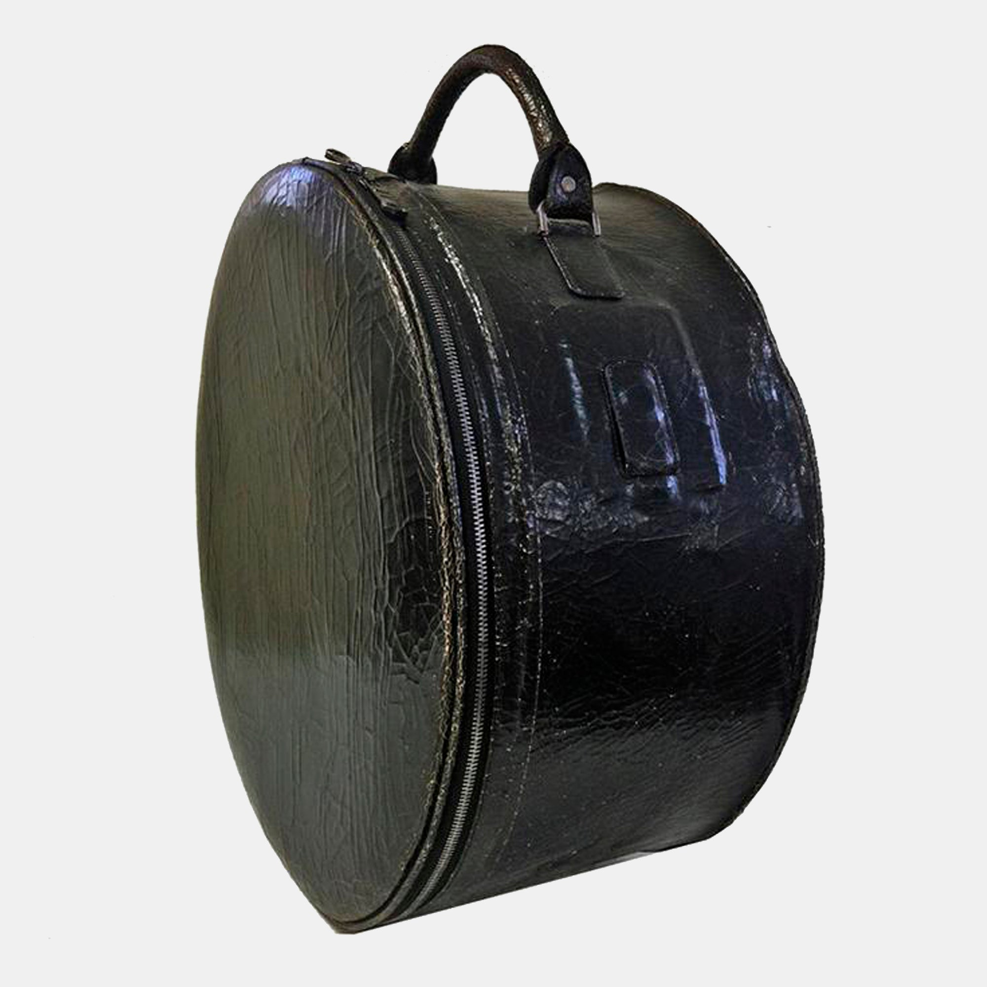 Luxury leather sustainable silk hat box drum case carry on carryall luggage