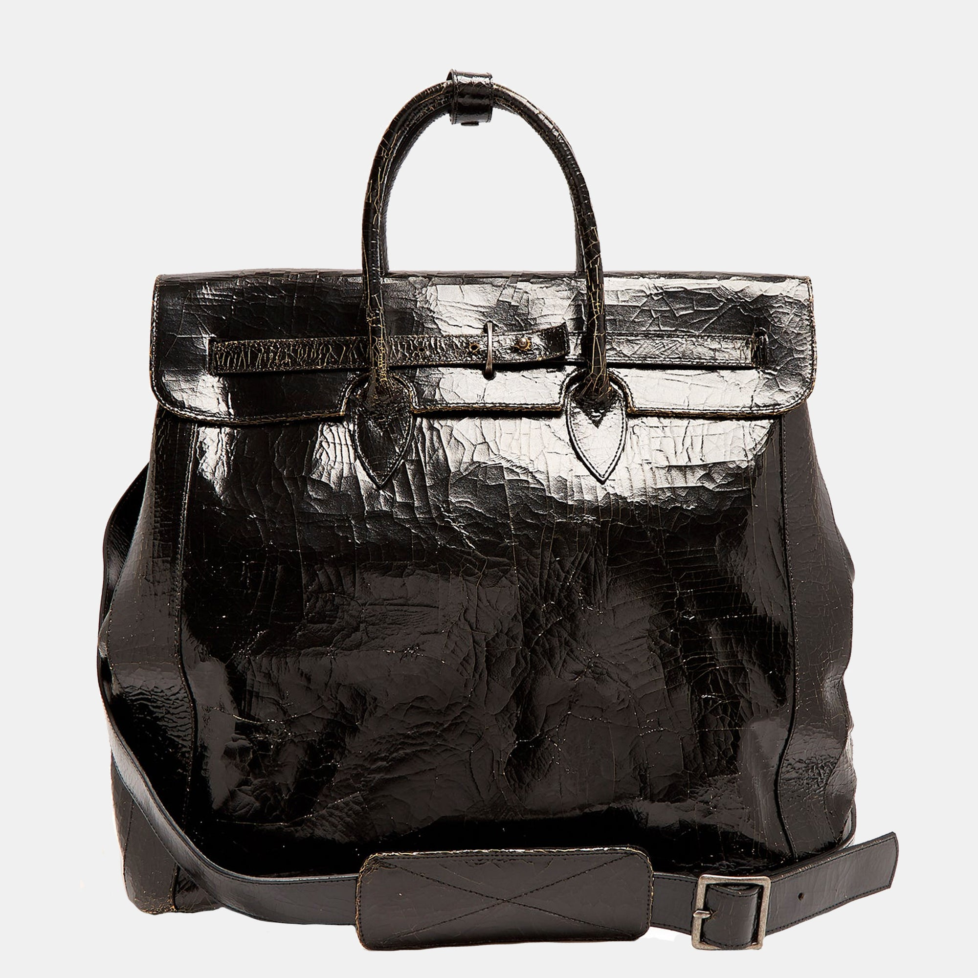 Luxury leather sustainable silk carry-on carry all luggage