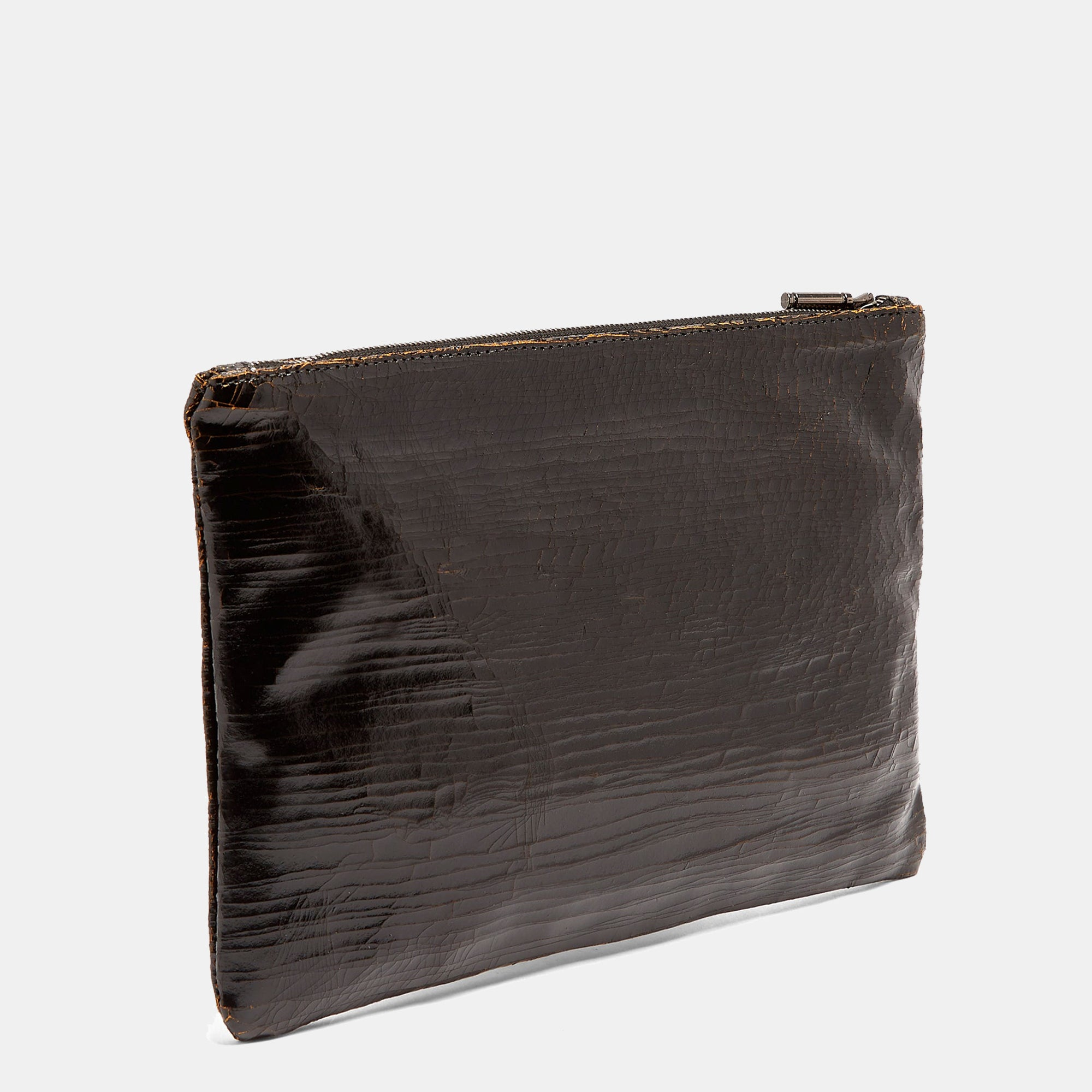 Luxury leather sustainable silk zip pouch cosmetics bag clutch