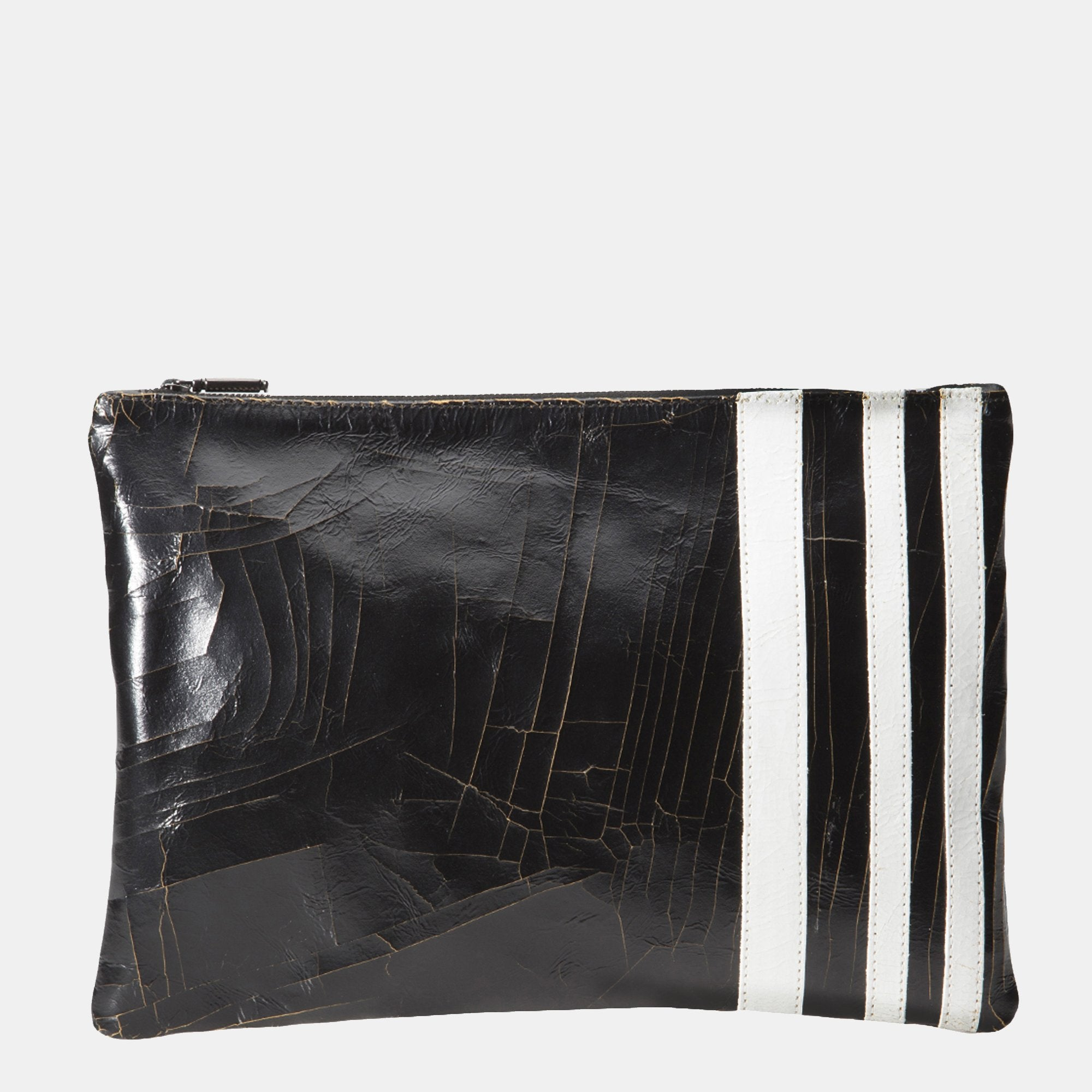 Luxury leather sustainable silk zip pouch cosmetics bag clutch stripes
