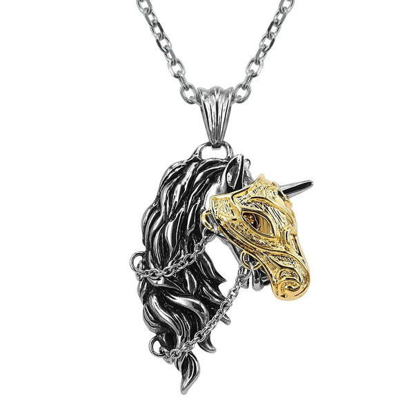 Unicorn with Armour Mask Necklace Pendant