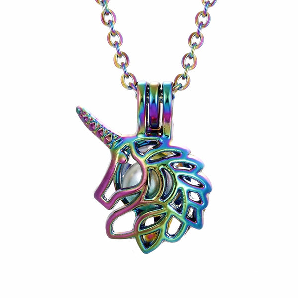 Chrome Unicorn Pearl/Bead Cage Necklace