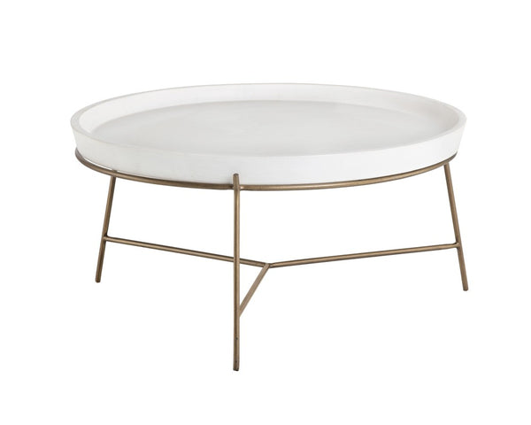 Remi Coffee Table, Aspen and Antique Brass