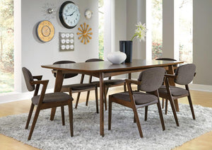 Hudson Dining Set Table and 6 Chairs, Walnut Finish