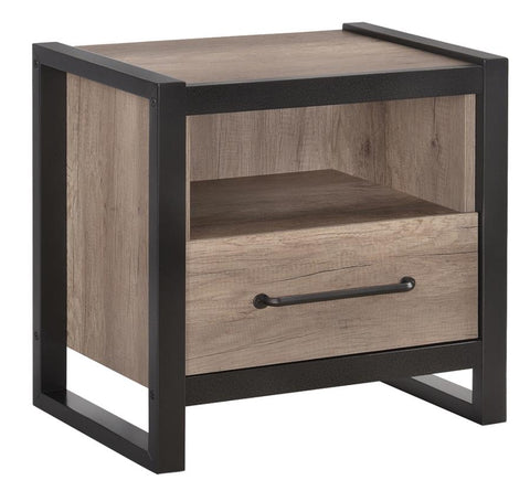 Steel & Light Wood Nightstand