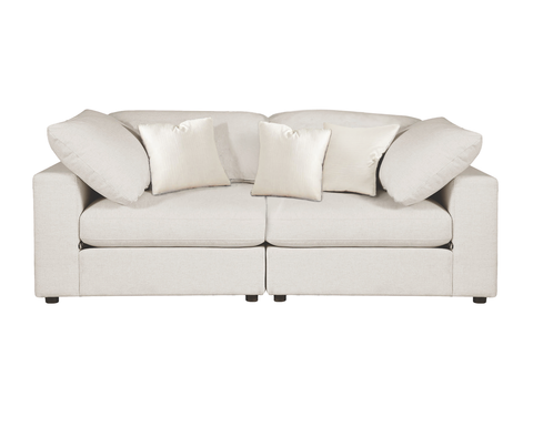 Sectional Sofa, Cream Linen - 2 Pieces