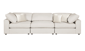 Sectional Sofa, Cream Linen - 3 Pieces