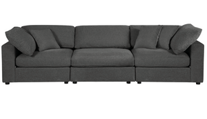Sectional Sofa, Grey Linen - 3 Pieces