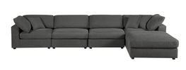 Sectional Sofa, Grey Linen - 5 Pieces