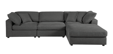 Sectional Sofa, Grey Linen - 4 Pieces
