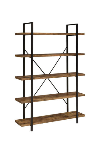 5-Shelf Bookcase Antique Nutmeg And Black