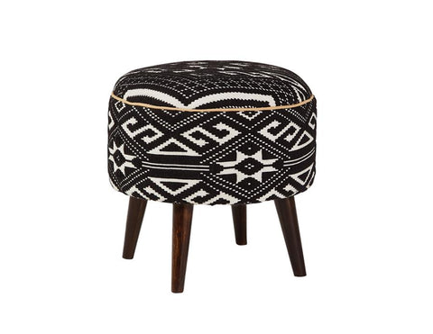 Black Patterned Upholstered Stool