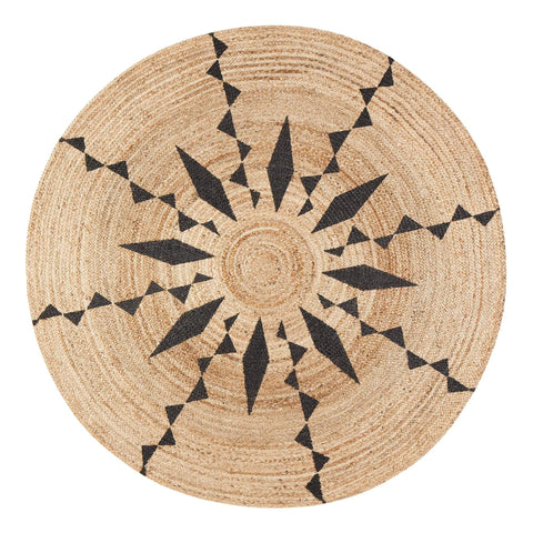 Tribal Sun Round Braided Jute
