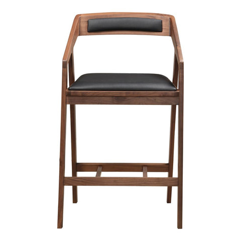 Walnut And Black Upholstered Counter Stool