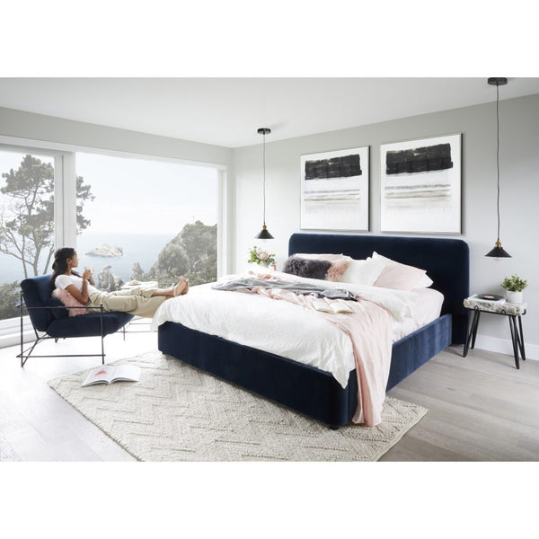 Samara King Bed, Midnight Blue