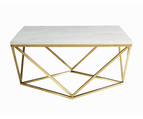 Geometric Gold + Marble Coffee Table