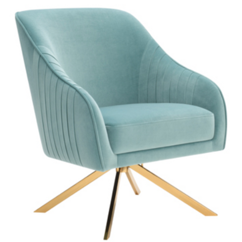 Teal and Brass Accent Chair