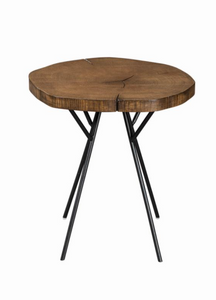 Two Tone Cut Wood Side Table