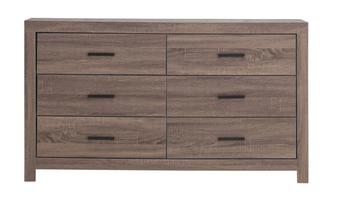 Oak Barrel 6 Drawer Dresser