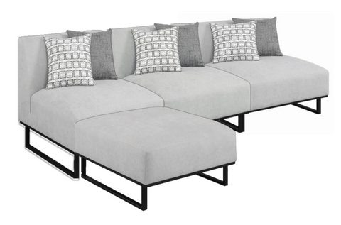 Armless Soft Grey Sectional - 4 Pieces
