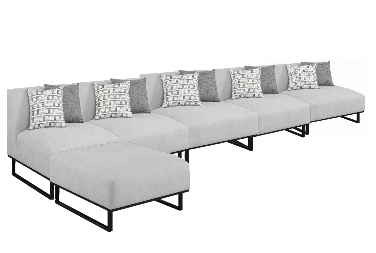 Armless Soft Grey Sectional - 6 Pieces