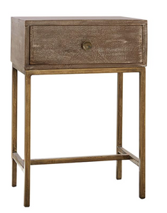 Beachwood and Bronze Nightstand x2