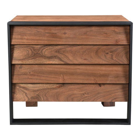 Steel and Acacia Wood Night Stand