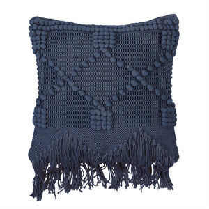 2 x Textured Blue Tassle Pillows
