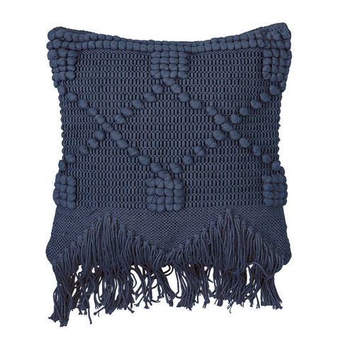 Textured Blue Tassel Pillows x 2
