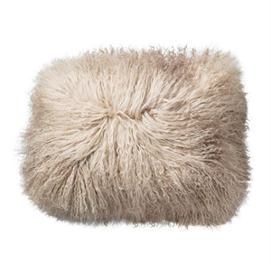 "incl. insert --- Much fluff for your living room and bedroom! 16""L x 12""H Tibetan Lamb Fur Pillow, Sand."