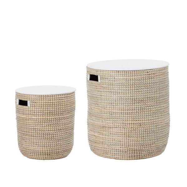 Hand-Woven Seagrass & Wood Table Set
