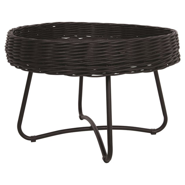 Hand-Woven Black Rattan Table